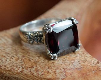 Garnet ring, Floral Silver Ring, alternative engagement ring, statement ring, High stone ring, cushion cut stone ring - Hello spring R2272-1