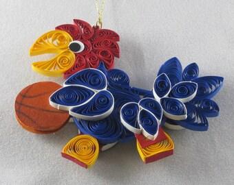 University of Kansas Jayhawk Ornament - with Basketball