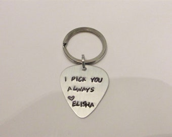 I pick you , guitar pick keychain, guitar pick, fathers day, fathers day gift, gift for dad, gift from child, I Pick You Always , Gift Him