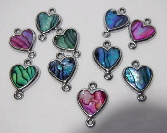 Silver Abalone Shell Heart Connectors or Links