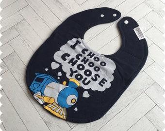 Train Baby Bib, I Choo Choo Choose You Recycled T-Shirt Baby Bib, New Baby Gift, Baby Shower Gift, Cute Baby Gift