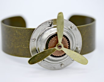 Working Rotating Spinner Propeller Aviator Airplane on Brass Cuff