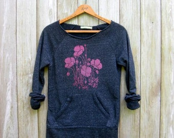 can't wait for spring Poppies Sweatshirt, Floral Sweater, Gardening Shirt, Gift for Mom, Poppies Top, S-2XL