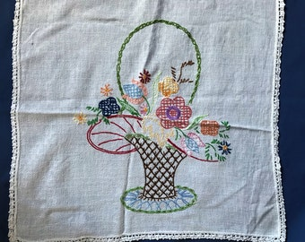 Hand Embroidered Dresser Scarf Doily with Flower Basket