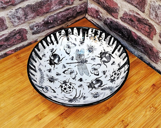Large Fruit Bowl, Hand painted ceramic, Bug drip design, Salad or Pasta, Black and White, Unique Gothic Kitchen item, Weird and Wonderful