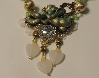 Cherub, Putti, Pink Hearts Rivoli Necklace