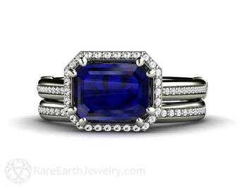 East West Sapphire Engagement Ring Wedding Set Blue Sapphire Ring Diamond Halo 14K or Palladium
