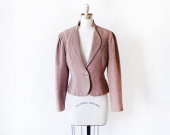 vintage blazer, 70s wool blazer, burgundy flecked tweed fitted women's blazer, 80s cropped blazer, medium