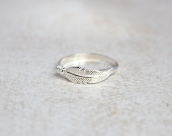 Sterling Feather Ring.  Sterling Silver with Feather Ring.  Feather Jewelry.  Boho Feather Ring.