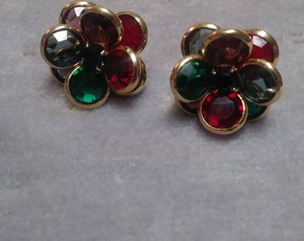 Classic Red Green Crystal Flower Earrings