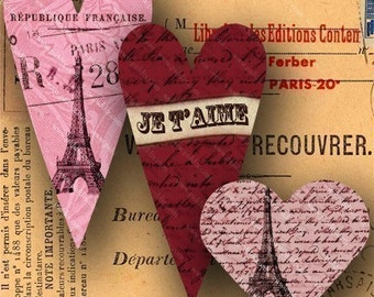 French Valentine Digital Collage Sheet Printable Paris Hearts French Handwriting Eiffel Tower Vintage Stamps, fits Patera Bezels piddix 684