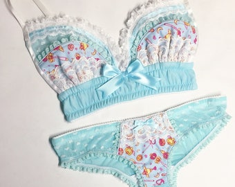 Light Blue Sailor Moon Panty - Pick Your Size - Handmade Vegan Bridal