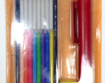 Bohin MECHANICAL CHALK PENCIL Set of Pencil with 8 white/8 colored chalks