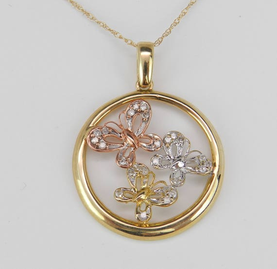 """Tri Color Gold Diamond Butterfly Circle Pendant Necklace 18"""" Chain Wedding Gift"""