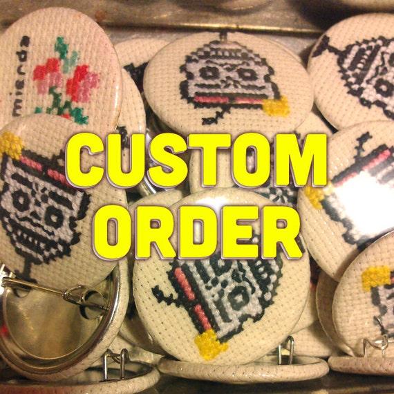 Custom cross stitch 35mm pinback button - Embroidered brooch