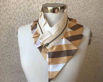 Collier femme, collier fermeture à glissière, collier plastron soie, accessoire féminin, accessoire de mode style, véritable fait à la main #251