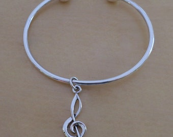 925 Sterling Silver Screw End Torque Bangle 63 mm and 2.5 mm Thick and Treble Clef Notes Charm