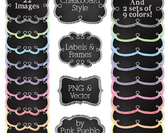 Printable Chalkboard Frames and Labels Clipart Clip Art, Chalkboard Tags Clipart Clip Art Vectors - Commercial and Personal Use