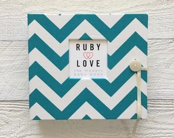 BABY BOOK | Teal Chevron Stripe Album