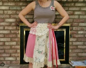Bohemian Dress, Gypsy Dress, Shabby Chic Dress, Hippie Dress, Repurposed Dress, UPcycled Dress, Ready to Ship