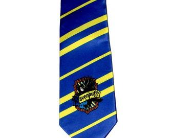Ravenpuff Cross-House Crest Necktie