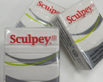 Sculpey III White Oven-Bake Clay - 2oz Polymer Oven-Bake Clay, New, Original Packaging, Polymer Clay supplies, Sculpey, Fimo