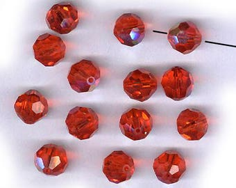 vintage swarovski crystal beads HYACINTH orange 10mm AB FOURTEEN sparkling bunch of crystal beads