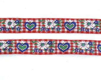 "Vintage Ribbon, Red Gingham Ribbon, Heart Ribbon, Jacquard Ribbon, Sewing Trim, Tyrolean Ribbon, Folkloric Ribbon, Floral,  1"" Wide, 3 Yards"