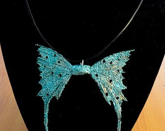 """Fairy Wings Necklace-Turquoise-OOAK 18"""" Leather Cord"""
