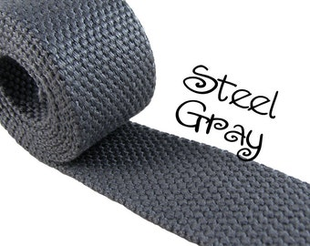 """Cotton Webbing - Steel Gray - 1.25"""" Medium Heavy Weight for Key Fobs, Purse Straps, Belting - SEE COUPON"""