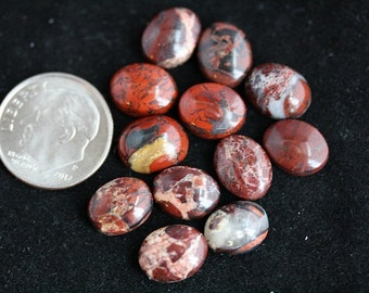 Brecciated Jasper Cabochons - 8 x 10 mm - Package of 12 stones