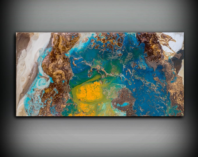 """Copper Painting Coastal 24"""" x 48"""", Acrylic Painting on Canvas, Abstract Painting, Contemporary Art, Large Wall Art, By L Dawning Scott"""