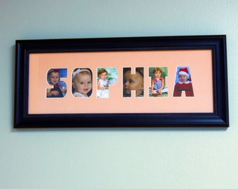 Custom Personalized Child's Name Picture Mat and Frame