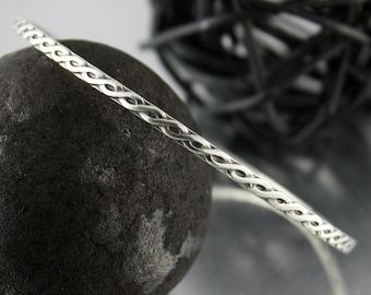 Sterling Silver Bangle, Stacking Bracelet, Braided Design Bracelet
