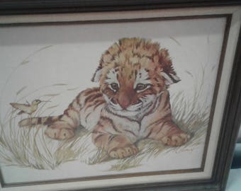 Vintage  Tiger Cub and Bird Print on Canvas/ Clancy
