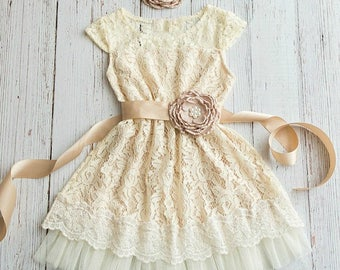 Rustic Flower Girl Dress,  Country flower girl dress, Ivory Champagne flower girl lace dress, Junior Bridesmaid,Baby toddler lace dress