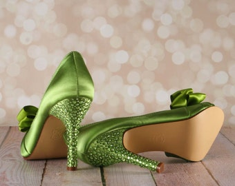 Wedding Shoes -- Leaf Green D'Orsay Style Peeptoe Custom Wedding Shoes with Green Crystal Covered Heel and Double Bow on Toe