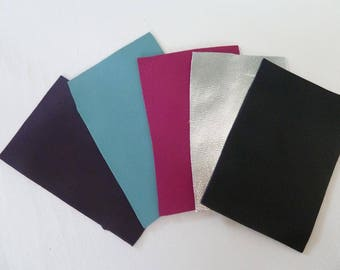 leather coupons x 5 rectangle leather assorted colors