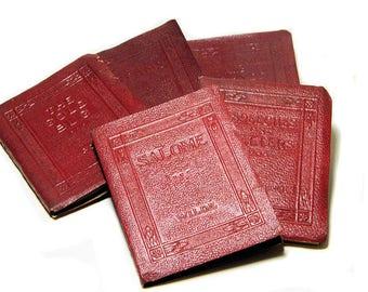 Five Small Antique Little Leather Books Poe Washington Wilde Stevenson Schreiner