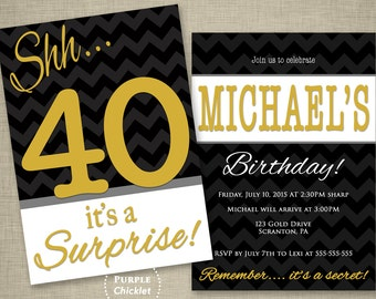 Gold 40th Surprise Birthday Party Invitation Gray Black Chevron Masculine invite Mans Party Invitation Adult Printable Party Invite JPEG 285
