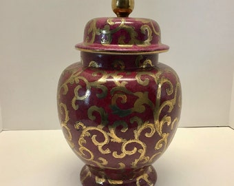 """Toyo 12"""" Maroon and Gold Ginger Jar"""