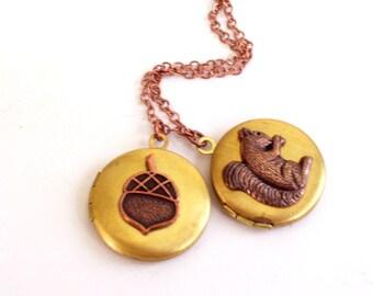 Acorn Squirrel Locket Duo, Copper Brass Squirrel Locket, Brass Acorn Locket, Two Tone Locket Pendant Necklace, Mixed Metals Necklace