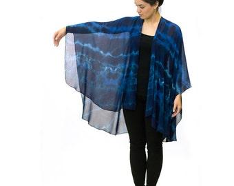Blue and Turquoise Open Silk Chiffon Shawl - A107