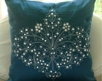"Designer Teal Blue Pillow Cases, 16""x16"" Silk Pillow Covers, Square  Damask Zardozi & Crystals Pillows Cover - Teal Damask"