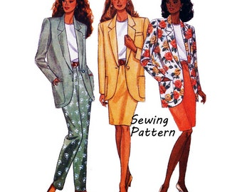 "Butterick 6593 Woman's Suit Jacket, Pencil Skirt, Tapered Pants, Top Sewing Pattern Size XS- M Bust 30.5- 36"" /56- 61cm Vintage 1990's UNCUT"