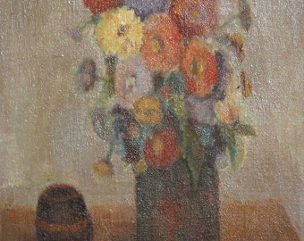 Antique oil painting still life signed