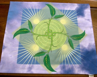 Altar Cloth or Tarot Cloth - Emergence, Sky Background - Pagan Altar Cloth - Wiccan Altar Cloth - Ostara (Spring  Equinox) Wheel of the Year