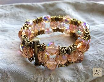 ART DECO bracelet, bracelet, modern bracelet, bracelet pink seed beads. Chic gift