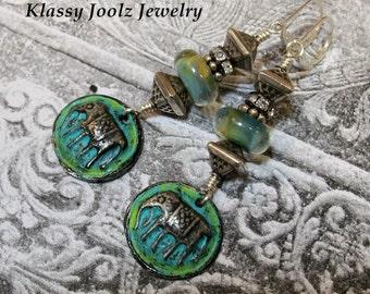 Pewter and Lampwork Beaded Earrings-Elephant Pewter Charms-Sterling Silver Earring-Artisan Earrings-Tribal-Primitive-Rustic Earrings-SRAJD