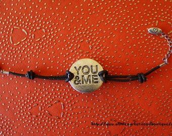 Bracelet adjustable black leather, charm YOU & ME aged metal